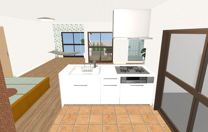 3Dキッチンからの眺め